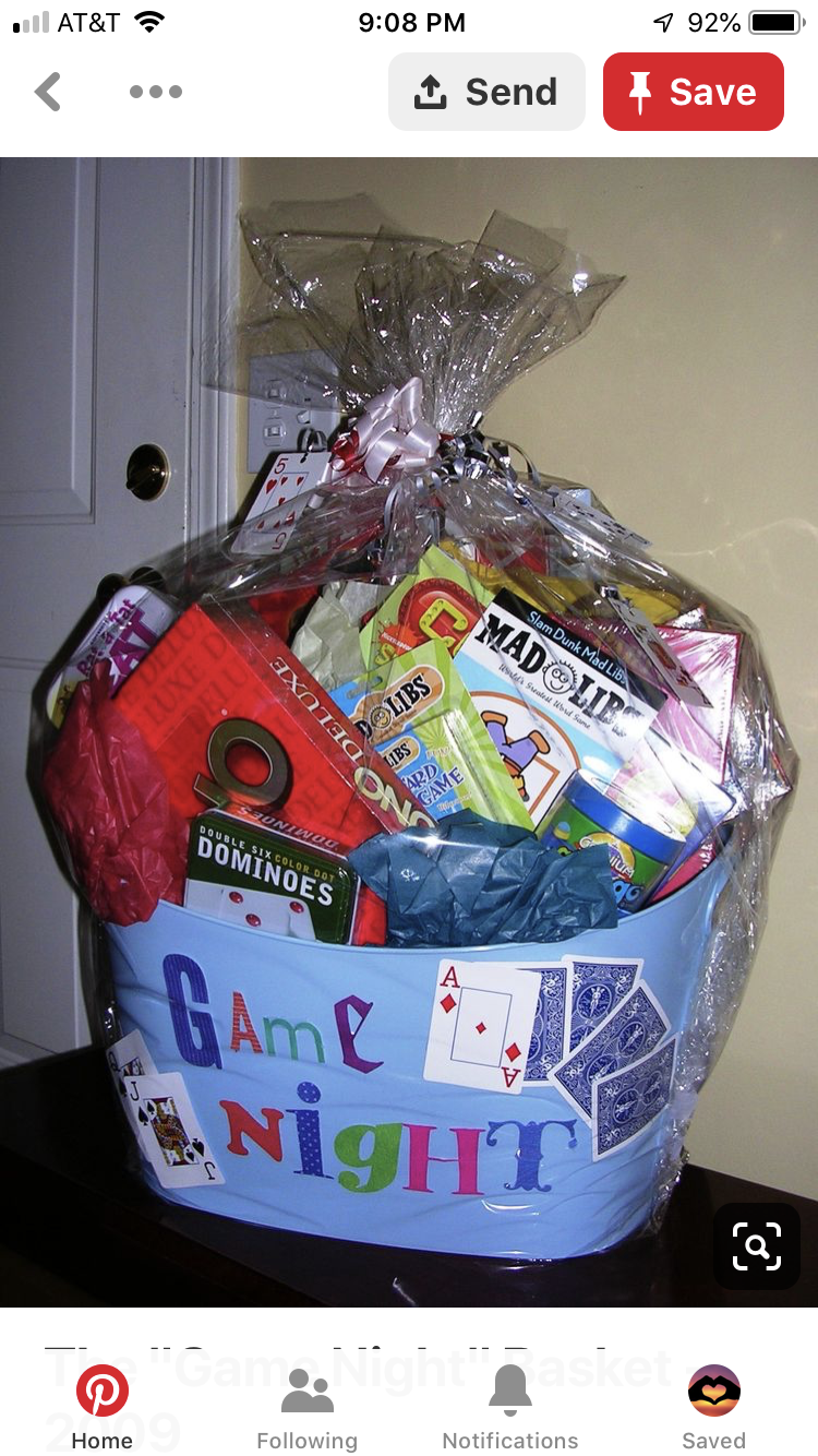 Pin by Danielle Simpson on Gifts! Game night gift basket
