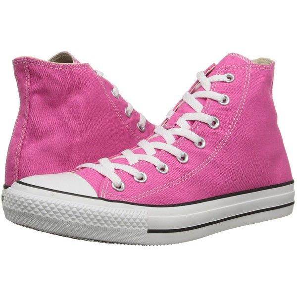 Converse Chuck Taylor All Star Seasonal Hi Classic Shoes, Pink ($45) ❤ liked on Polyvore featuring shoes, pink, pink metallic shoes, metallic high tops, pink high top shoes, lace up shoes and laced shoes