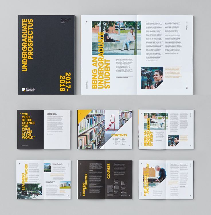 University of Suffolk Prospectus Spreads | Booklet design, Page layout design, Brochure design
