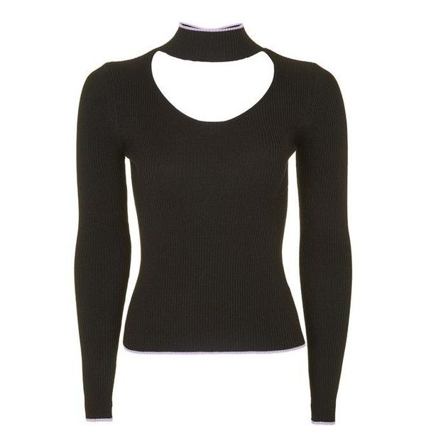 75833140d693a Topshop Fine Gauge Choker Knitted Top ( 33) ❤ liked on Polyvore featuring  tops
