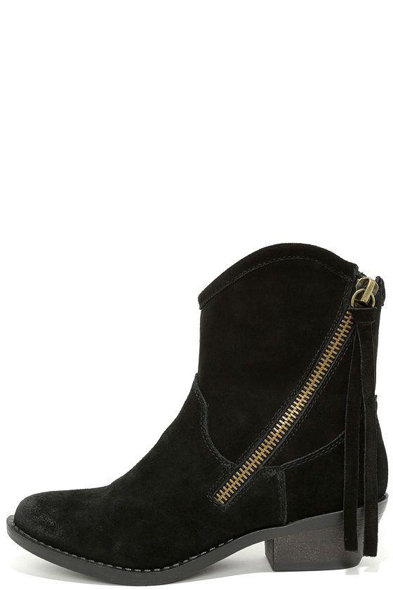 Report Signature Von Black Suede Leather Mid-Calf Boots at Lulus.com!