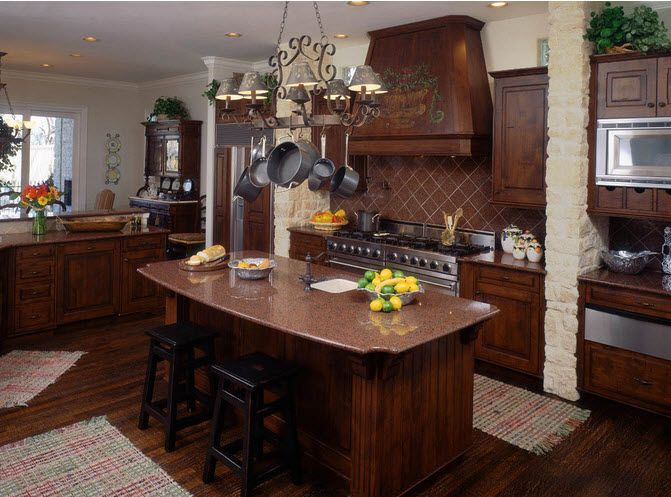 Kitchen Remodel with dark wood island American Traditional