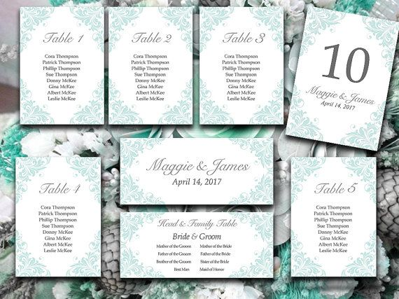 Wedding Seating Chart Template Flourish Pale Blue Heather Gray