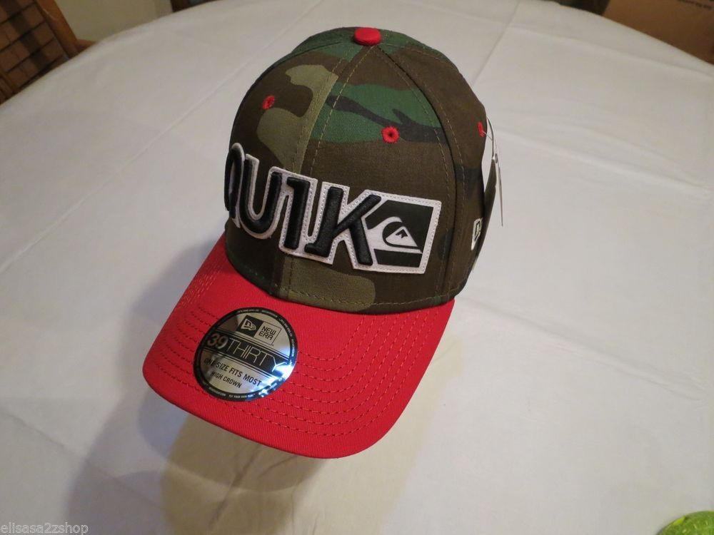 CAMO blocked red Quiksilver cap hat surf skate one size 39thirty Men's RARE NEW
