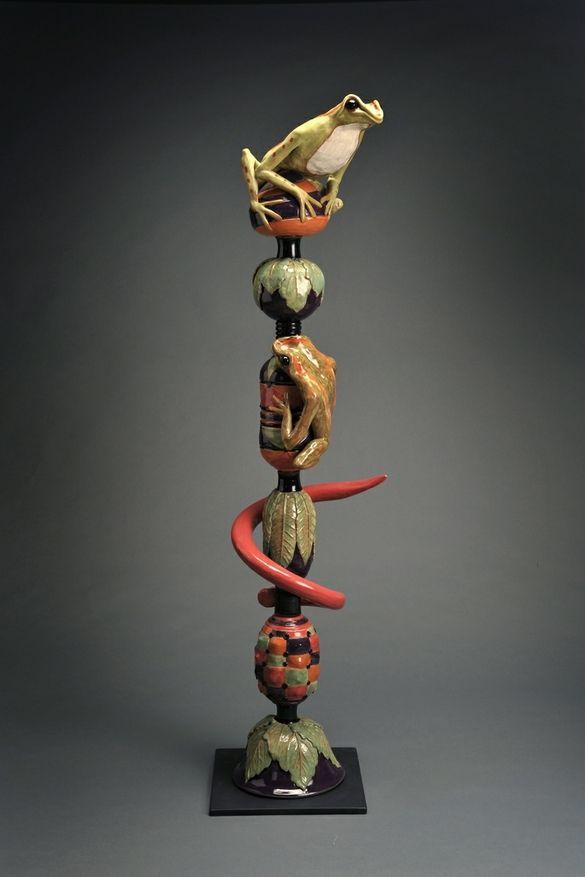 Frog Totem Pole Ii By The Pot Shop Totem Pole Pottery Totem