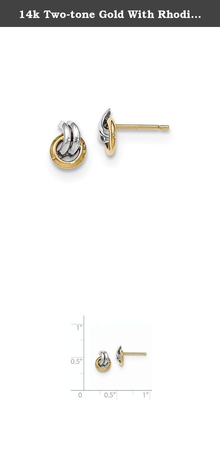 14k Two-tone Gold With Rhodium Polished Post Earrings. 14K Two-Tone Gold with Rhodium Polished Post Earrings Length: 6 Mm Width: 3 Mm Earring Closure: Post & Push Back Average Weight: 0.62 Gm Attributes: * Polished * Post * 14k Yellow Gold &amp * Rhodium Metal: 14k Yellow & Rhodium Country Of Origin: Spain .