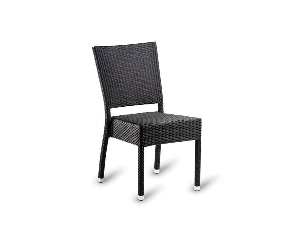 Parma Stacking Outdoor Brown Weave Side Chairs. Made From Synthetic Plastic  Weave, Stacking Up