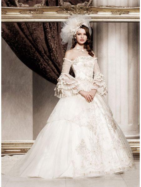 Off-the-Shoulder Princess Vintage Victorian Wedding Dress | I do ...
