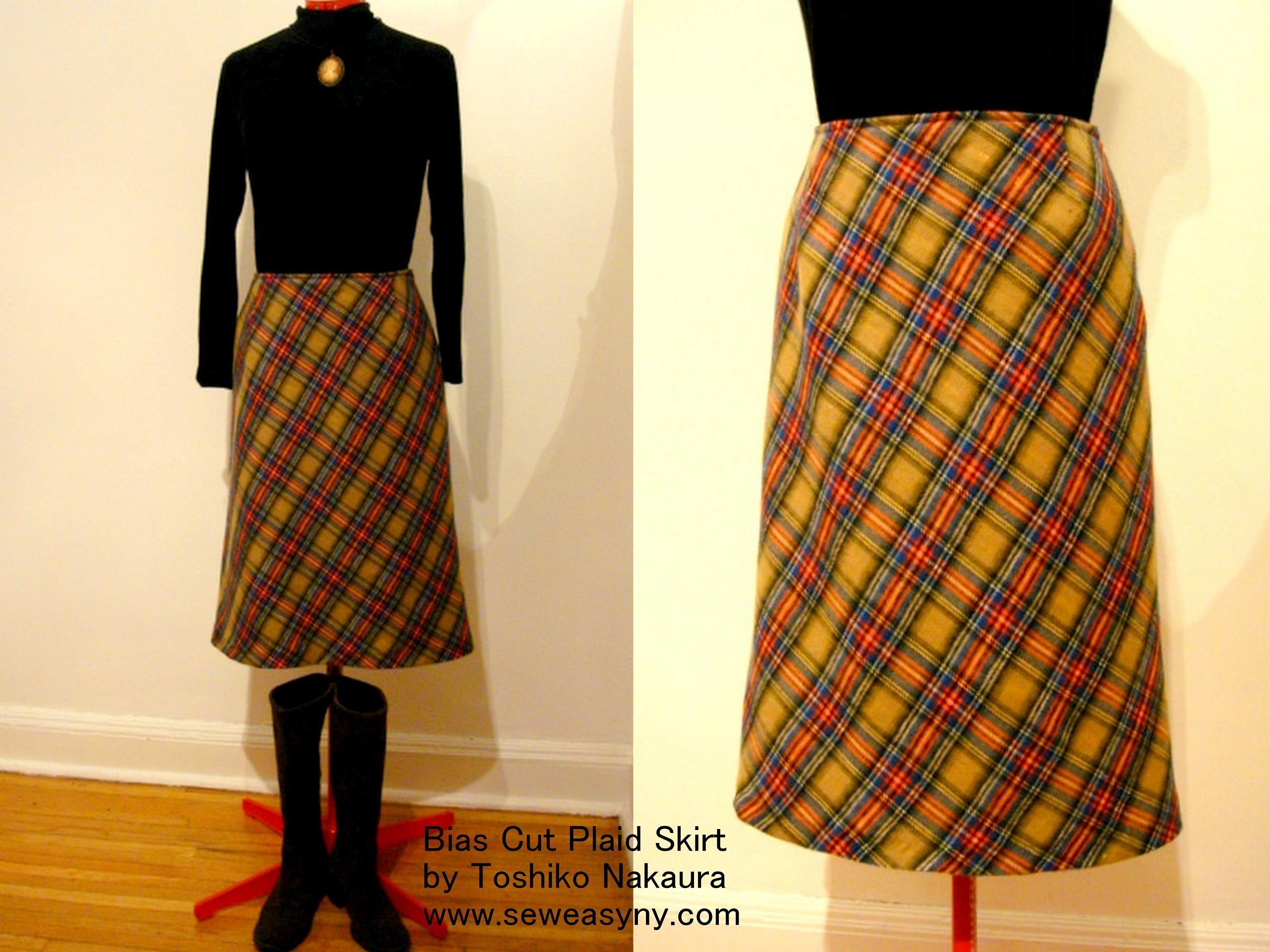 秋一番に着たいバイヤスカットのチェックのスカート : Sew Easy New York