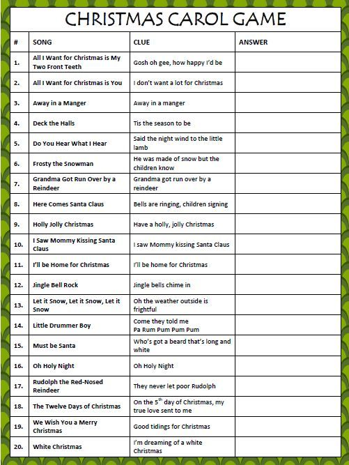 Christmas Carol Game - Free Printable from | Game start, Songs and ...