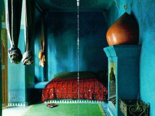 Marokkanische Schlafzimmer Deko Ideen   Blaue Wände