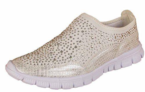 9ca70868cc4 Ladies Diamante Trainers Womens Sporty Gym Jogging Fashion Dance Slip On Pumps  Comfort Shoes (UK 5   EU 38