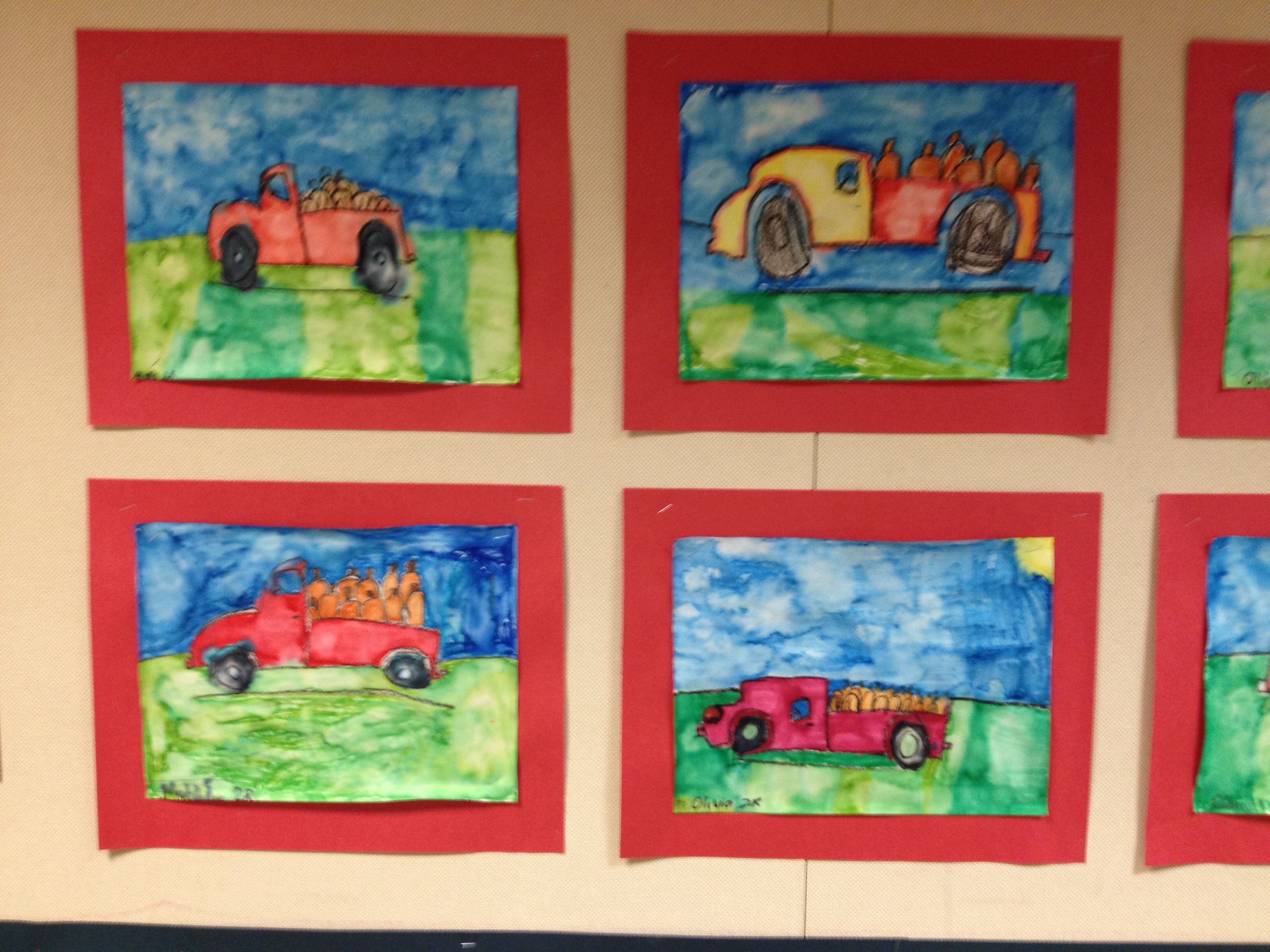 Second graders followed my guided drawing of an old dump truck,then used watercolor markers to color the picture. Lastly the students wet the paper for a watercolor painting effect.
