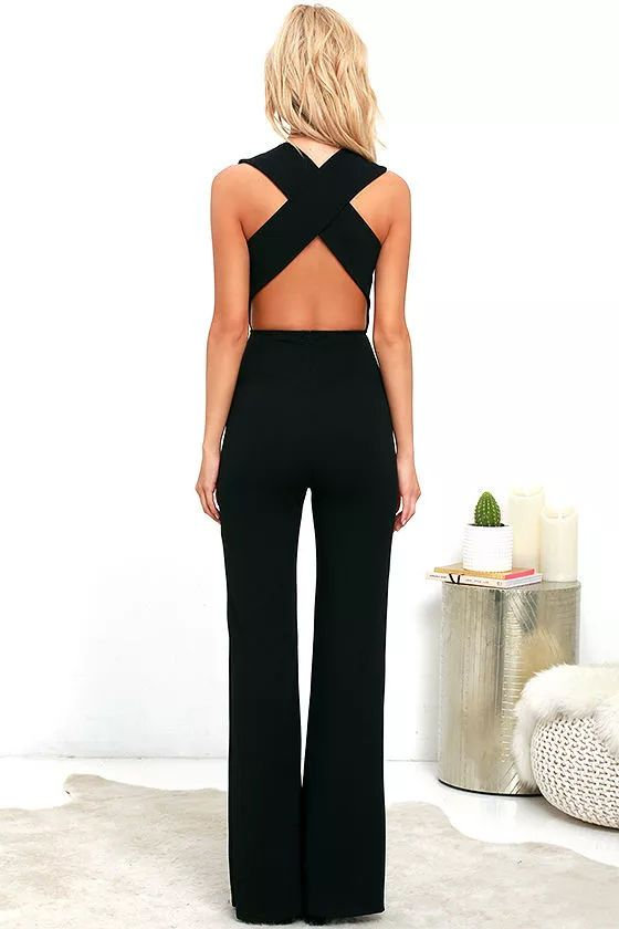 1890bb113f1 Your admirers will have a lot to say about their love for you in the  Thinking Out Loud Black Backless Jumpsuit! Medium-weight knit is formed to  a sleeveless ...