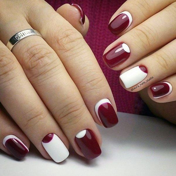 Minimalist inspired maroon nail art design. The alternating white and maroon … - 35 Maroon Nails Designs Maroon Nails, Maroon Nail Polish And