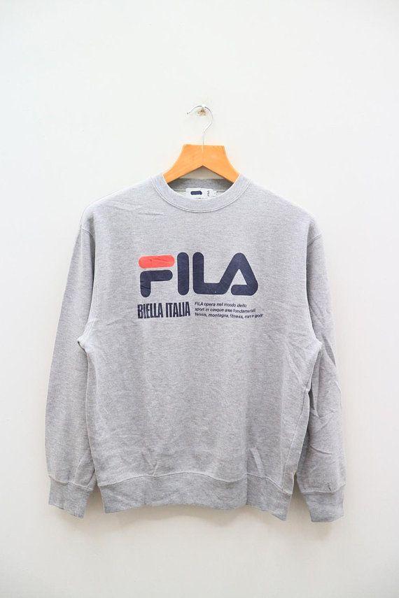 71d1c0a21db6 Vintage FILA Biella Italia Big Logo Sportswear Gray Pullover Sweatshirt  Sweater Size M
