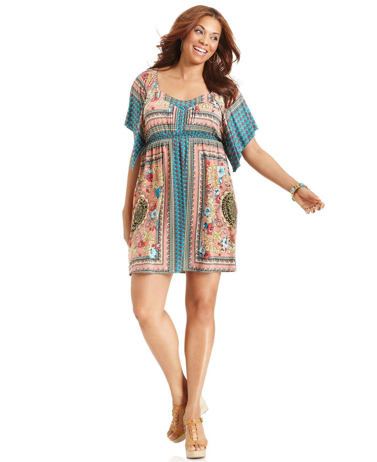 Style Plus Size Dress Short Sleeve Printed Empire Dresses