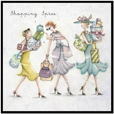 Shopping Spree Berni Parker Designs Female Birthday Card Cute Art Whimsical Art Crazy Friends