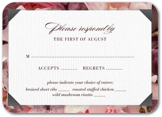Maroon and Peach wedding colored response card httpswww