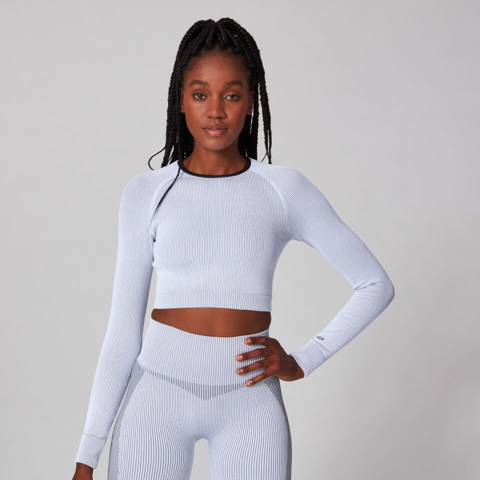Buy Women's Contrast Seamless Crop Top | White | MYPROTEIN