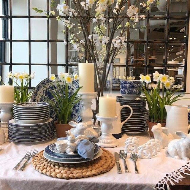 We Are Welcoming In Spring Potterybarn Highlandvillage Springhassprung Dinnerware Decorating Pottery Barn Highland Village Pottery Barn Easter Dining Table Decor Holiday House Decor Easter Dining Table