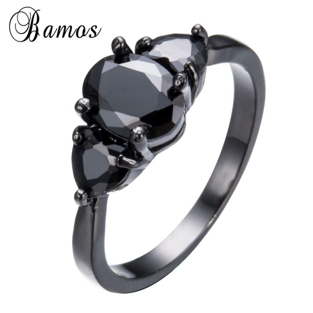 Bamos retro jewelry black cubic zircon rings for women men black