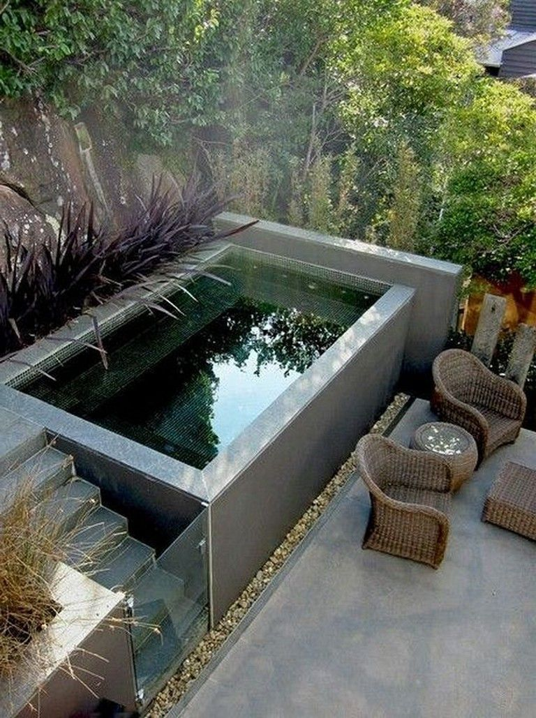 36 Beautiful Mini Pool Garden Designs For Tiny House Pool Pooldesigns Poollandscaping Small Pool Design Small Backyard Pools Small Swimming Pools