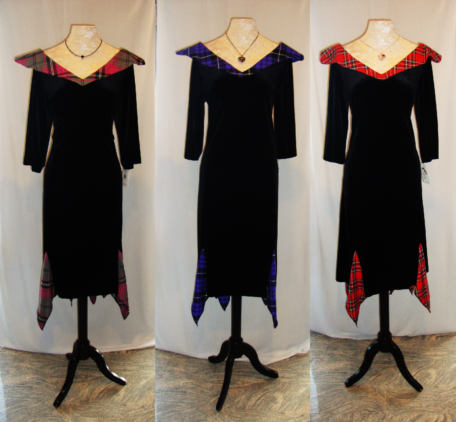 Black dress with touch of red - New Fiona Dresses In Black Stewart Red Stewart Tartan Touch Purple And Tartan Touch