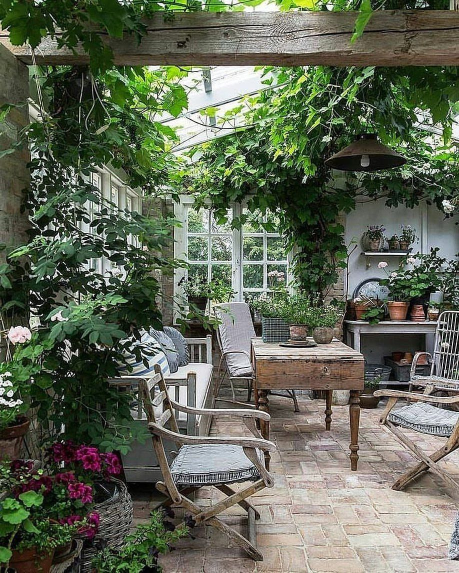 Ooh I Could Spend A Lot Of Time Here Potting Shed Dining Room Greenhouse Just A Lovely Place To Be Thank You Eckmannstudioc Backyard Backyard Patio Patio
