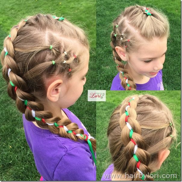 3 Color Ribbon Braid 4th Of July Style Hair By Lori Hair Styles Ribbon Braids Hair Tutorial