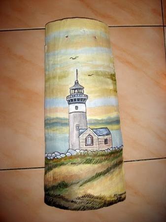 Teja al acrilico teja acrilicos teja lija pintar manualidades pintura em telhas artesanato - Pintar tejas de barro ...