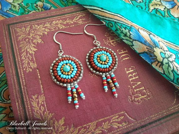 Native Boho earrings - Bead embroidery - Steel ear wires  Add some color to your day with these handmade czech beads earrings ! Technique used is