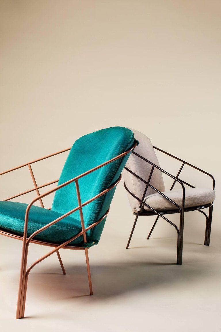 Demille indoor outdoor lounge chair in black red steel