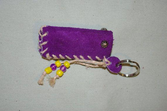 Lip Balm Case Concord Purple Leather Key by jessicasoriginals, $7.00