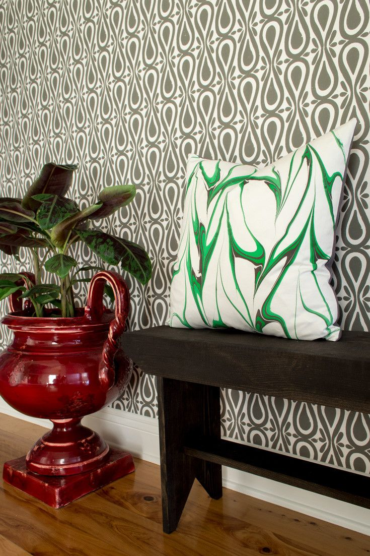 Drop On Over hand block printed artisan wallpaper in Stone