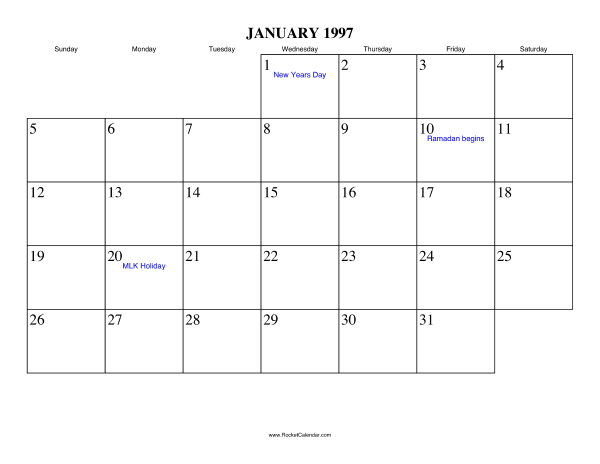 free printable calendar for january 1997 view online or print in