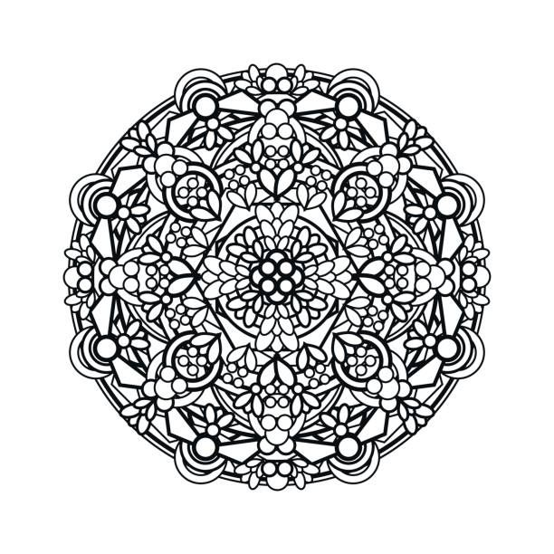 contour, monochrome Mandala. ethnic, religious design element….