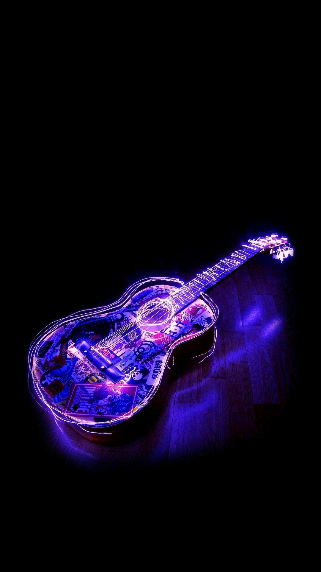 Neon guitar Iluminação de neon, Papel de parede
