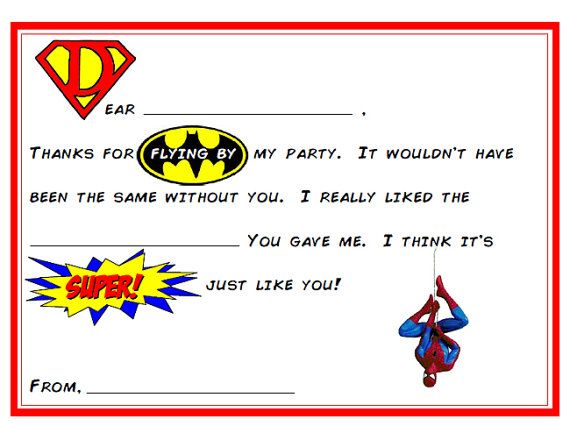 Instant Download Superhero Fill In The Blank Thank You Cards For Kids Grea Birthday Card Template Superhero Birthday Superhero Birthday Party Invitations