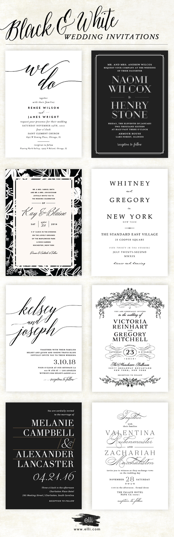 Top black and white themed wedding invitations. Click here to see ...