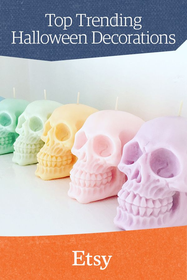 Multi-colored pastel skull candles Go all out this year for - bulk halloween decorations
