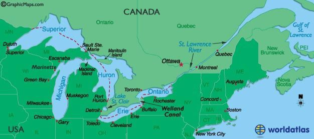 Outlined Map of Great Lakes,Canada, St.Lawrence River and United