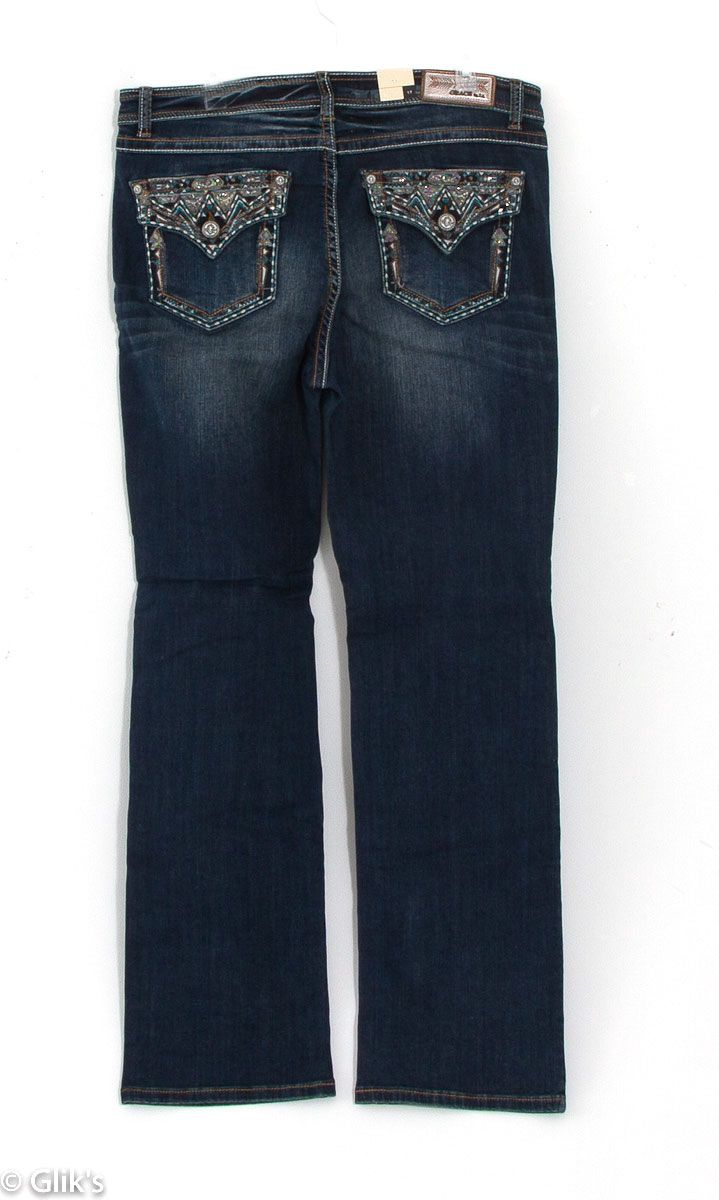 Grace in LA Plus Size Jeans Straight Leg with Navajo Embroidered Faux Flap Pockets