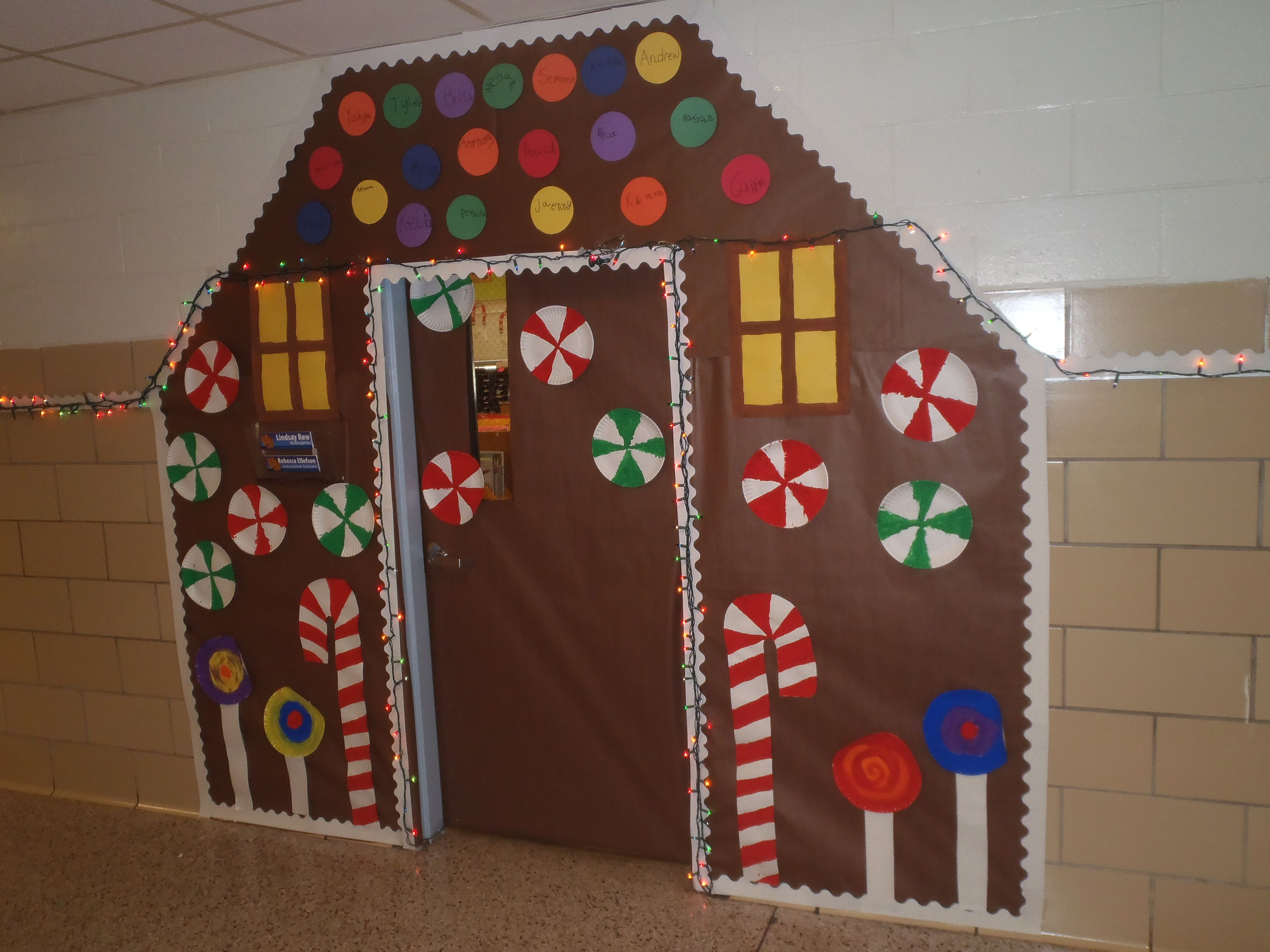 Gingerbread house with paper plate candy