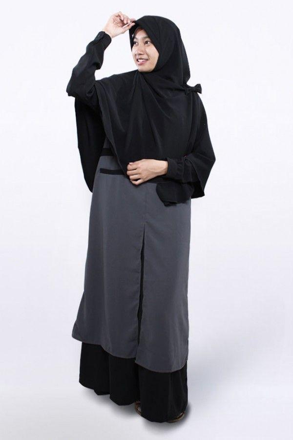 Gamis Syar I Alesha Hitam Abu By Anizah Khimar Hijabsyari