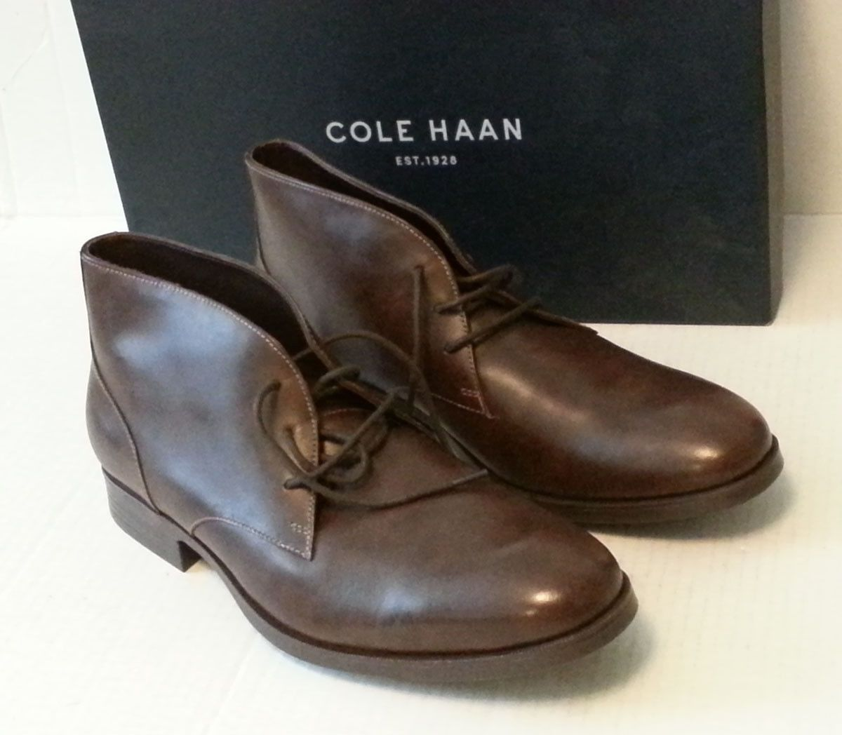 Cole Haan Men Size 9 Copley Chukka Boots Chestnut Brown Leather C13153 INDIA