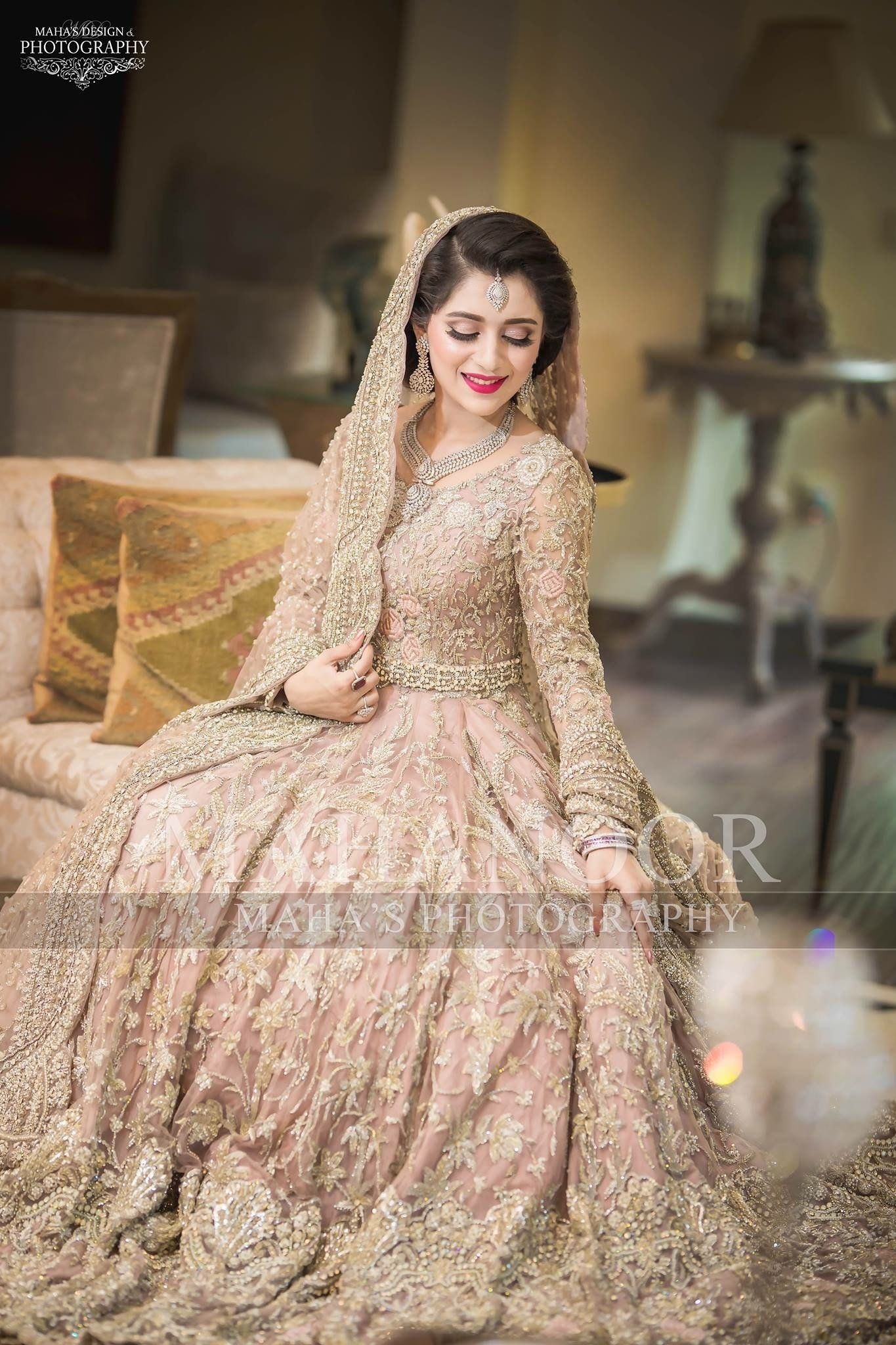 ab6c7cbc31 Pakistani Walima Bridal Dress In Pastel Pink Color Model# B 1658 in ...