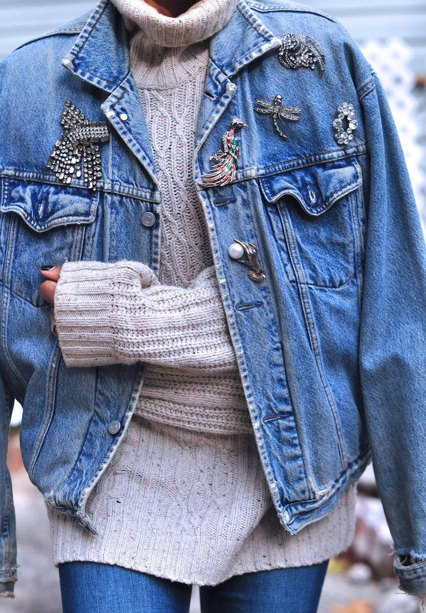 f892fe65aa08b Levi denim jacket with brooches. I have tons of brooches that I ve  collected over the years. What a fun way to wear them!