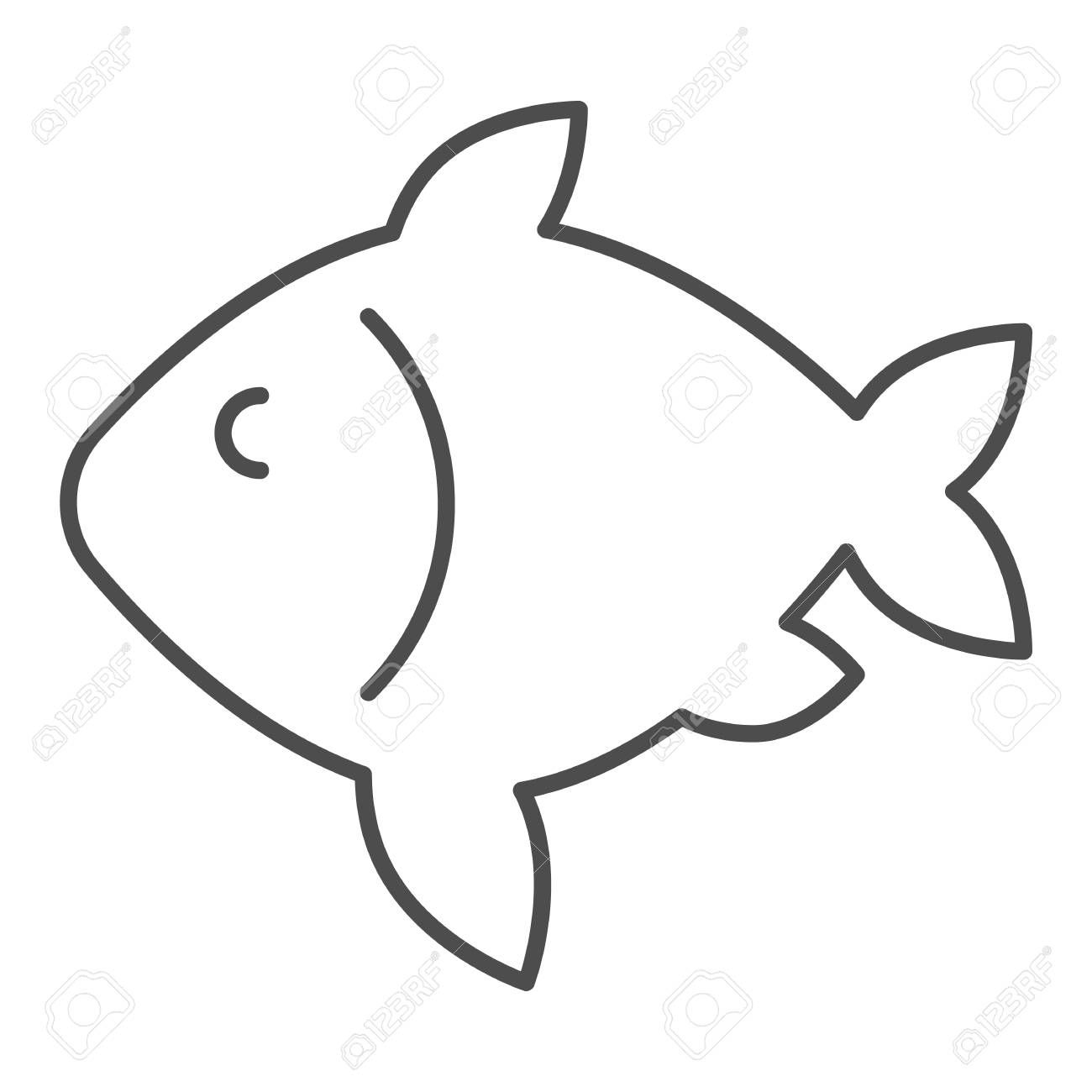 Carp Fish Thin Line Icon Seafood Vector Illustration Isolated On White Food Outline Style Design Designed Food Icon Png Icon Illustration Illustration Food