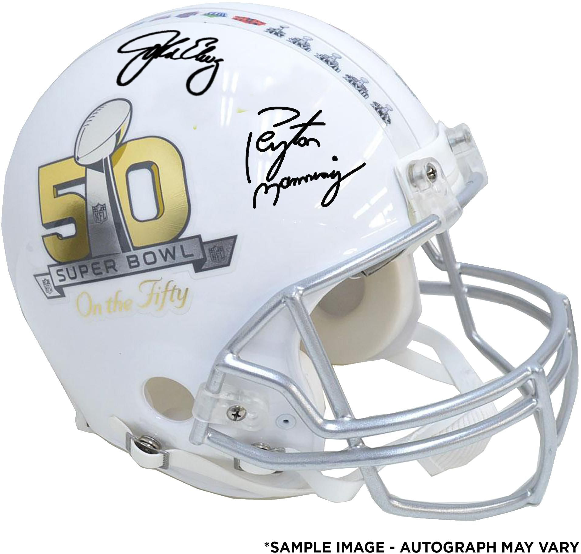 Peyton Manning   John Elway Autographed Riddell Super Bowl 50 On The Fifty Pro  Helmet cf647d3de